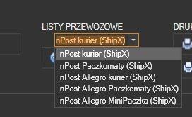 InPost ShipX - ręczne przygotowanie listu - wybor rodzaju listu