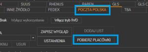 Poczta Polska - przycisk pobrania placówek / punktów odbioru