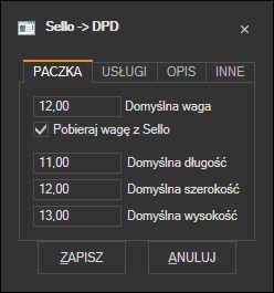 Sello - domyślne parametry paczki DPD