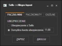 Sello - ustawienia Allegro InPost MiniPaczka