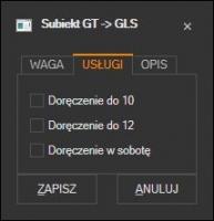 Subiekt GT - domyślne usługi kuriera GLS