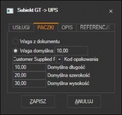 Subiekt GT - domyślne parametry paczki UPS