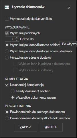 Subiekt GT - łączenie dokumentów - ustawienia