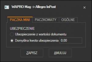 WAPRO Mag - ustawienia ubezpieczenia Allegro InPost MiniPaczka