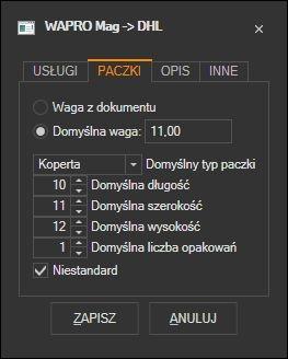 WAPRO Mag - domyślne parametry paczki DHL