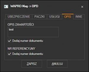 WAPRO Mag - opis zawartości przesyłki DPD