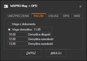 WAPRO Mag - domyślne parametry paczki DPD