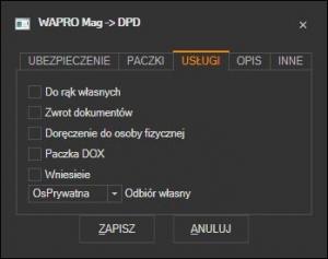 WAPRO Mag - domyślne usługi dodatkowe kuriera DPD