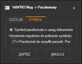 WAPRO Mag - ustawienie wyciągania symbolu paczkomatu z uwag