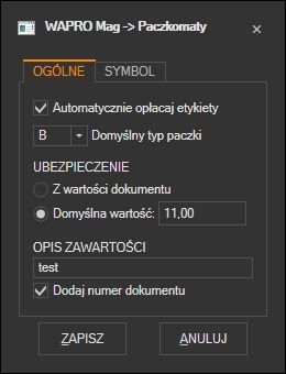 WAPRO Mag - domyślne ustawienia etykiety paczkomat-ów