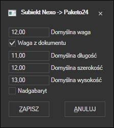 Subiekt nexo - opcje przygotowania listu Paketo24
