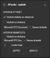 aPaczka - konfiguracja wydruku listów