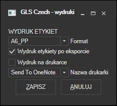 GLS Czechy - ustawienia wydruku listu przewozowego