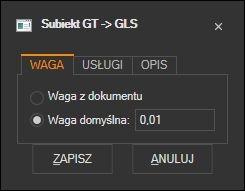 Subiekt GT - konfiguracja wagi listu GLS