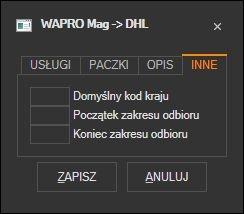 WAPRO Mag - pozostałe domyślne parametry listu DHL