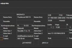 Świat Przesyłek - formularz edycji lsitu
