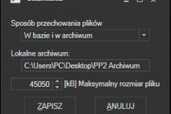 Biblioteka - ustawienia przechowywania danych