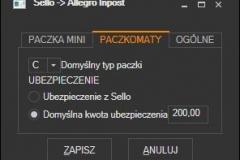 Sello - ustawienia przesyłki Allegro InPost Paczkomaty