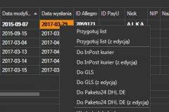 Sello - menu przygotowania etykiet adresowych