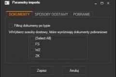 Subiekt nexo - wybór rodzajów pobieranych dokumentów