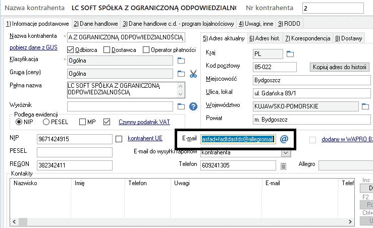 WAPRO Mag - kartoteka klienta - adres e-mail